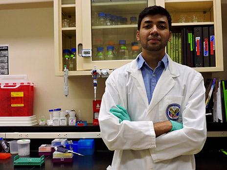 Abuzar Mahmood in a lab