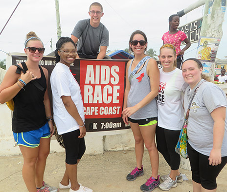 A group of students participated in the AIDS Race, an event originally started by MU students and carried on by Ghanaian locals.