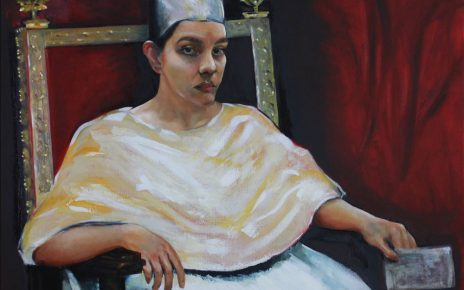 Carina Jimenez's paintings resemble historic pieces as they were originally painted, but Jimenez's face.