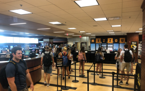 Students wait in line at The Mizzou Store to start the fall 2019 semester at the MU Student Center.
