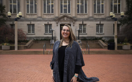 Keely Alexander Franco stands in front of MU's Ellis Library on Lowry Mall.