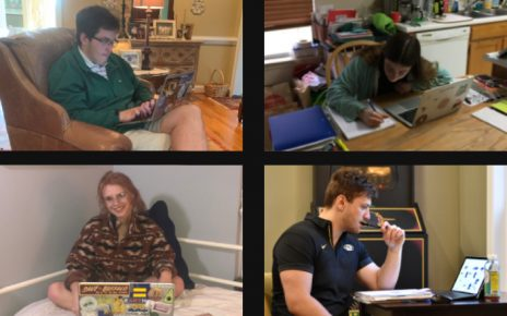 Four MU interns study at home
