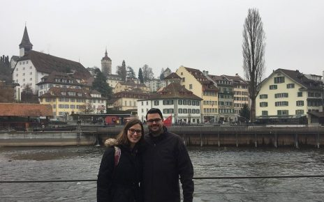 Chris and Lisa Dobbs stand at the waterfront in Lucerne, Switzerland.