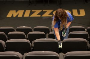 Members of the Mizzou Campus Facilities custodial crew clean Ketcham Auditorium on Thursday, August 6, 2020 in anticipation of students returning to campus