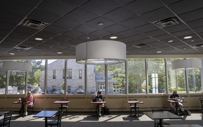 Students practice social distancing in MU's Memorial Union.