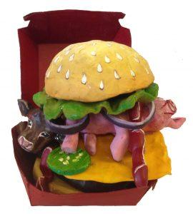Pig & Cow sandwich sculpture