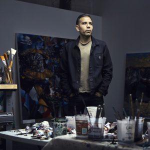Yatika Fields portrait in his studio