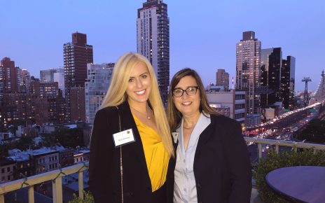 Nicole Cummings (left) with her mentor, Mary Beth Mars, in New York during the Tigers on Wall Street trip. Taken pre-COVID.