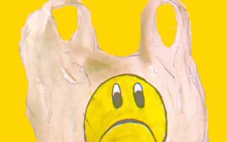 Original artwork by Ashley Hollis of plastic bag with sad face and text