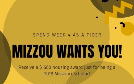 Receive a $1500 housing award for being a Missouri Scholar.
